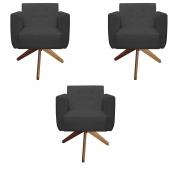 Kit 3 Poltrona Duda Decoraçâo Base Giratória Cadeira Recepção Escritório Clinica D'Classe Decor Suede Grafite
