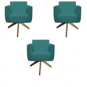 Kit 3 Poltrona Duda Decoraçâo Base Giratória Cadeira Recepção Escritório Clinica D'Classe Decor Suede Azul Tiffany
