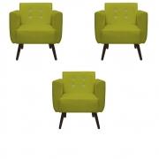 Kit 3 Poltrona Duda Strass Decoração Cadeira Escritório Consultório Salão D'Classe Decor Suede Amarelo