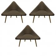 Kit 3 Poltrona Ibiza Triângulo Decoração Sala Clinica Recepção Escritório Quarto Cadeira D'Classe Decor Sued Marrom Rato