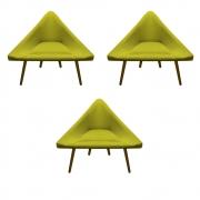 Kit 3 Poltrona Ibiza Triângulo Decoração Sala Clinica Recepção Escritório Quarto Cadeira D'Classe Decor Suede Amarelo