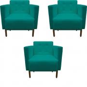 Kit 3 Poltrona Isa Decoração Clinica Recepção Escritório Quarto Cadeira D'Classe Decor Suede Azul Tiffany