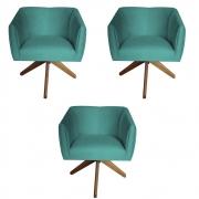 Kit 3 Poltrona Julia Decoração Base Giratória Clinica Cadeira Escritório Recepção Suede Az Tiffany