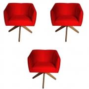 Kit 3 Poltrona Julia Decoração Base Giratória Clinica Cadeira Escritório Recepção Suede Vermelho