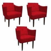 Kit 3 Poltrona Naty Decoração Escritório Salão Cadeira Recepção Escritório Sala Estar  D'Classe Decor Suede Vermelho