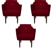 Kit 3 Poltrona Naty Strass Decoração Cadeira Clinica Recepção Salão Escritório D'Classe Decor Suede Marsala