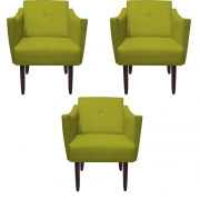 Kit 3 Poltrona Naty Strass Decoração Cadeira Clinica Recepção Salão Escritório D'Classe Decor Suede Amarelo