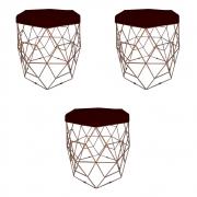Kit 3 Puff Diamante Aramado Decoração Banqueta Salão Sala Estar Quarto D'Classe Decor Suede Marsala