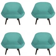 Kit 4 Poltrona Anitta Decoração Recepção Clínica Pé Palito Moderna Quarto Salão D'Classe Decor Suede Azul Tiffany