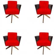 Kit 4 Poltrona Chanel Decoração Base Giratória Escritório Sala Estar Recepção Clinica D'Classe Decor Suede Vermelho