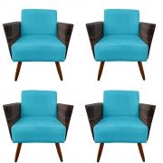 Kit 4 Poltrona Chanel Decoração Pé Palito Cadeira Escritório Clinica Jantar Estar Suede Azul Tiffany