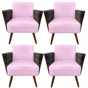 Kit 4 Poltrona Chanel Decoração Pé Palito Cadeira Escritório Clinica Jantar Sala Estar D'Classe Decor Suede Rosa Bebê