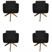 Kit 4 Poltrona Duda Decoraçâo Base Giratória Cadeira Recepção Escritório Clinica D'Classe Decor Suede Preto