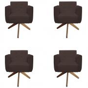 Kit 4 Poltrona Duda Decoraçâo Base Giratória Cadeira Recepção Escritório Clinica D'Classe Decor Suede Marrom
