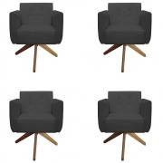 Kit 4 Poltrona Duda Decoraçâo Base Giratória Cadeira Recepção Escritório Clinica D'Classe Decor Suede Grafite