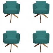 Kit 4 Poltrona Duda Decoraçâo Base Giratória Cadeira Recepção Escritório Clinica D'Classe Decor Suede Azul Tiffany
