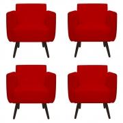 Kit 4 Poltrona Duda Decoraçâo Pé Palito Cadeira Recepção Escritório Clinica D'Classe Decor Suede Vermelho