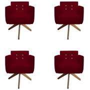 Kit 4 Poltrona Duda Strass Base Giratória Cadeira Escritório Consultório Salão D'Classe Decor Suede Marsala