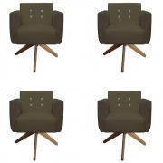 Kit 4 Poltrona Duda Strass Base Giratória Cadeira Escritório Consultório Salão D'Classe Decor Suede Marrom Rato