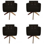Kit 4 Poltrona Duda Strass Base Giratória Cadeira Escritório Consultório Salão D'Classe Decor Suede Marrom
