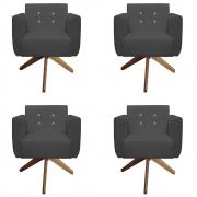 Kit 4 Poltrona Duda Strass Base Giratória Cadeira Escritório Consultório Salão D'Classe Decor Suede Grafite