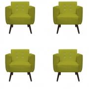 Kit 4 Poltrona Duda Strass Decoração Cadeira Escritório Consultório Salão D'Classe Decor Suede Amarelo