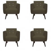 Kit 4 Poltrona Duda Strass Decoração Cadeira Escritório Consultório Salão D'Classe Decor Suede Marrom Rato