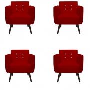 Kit 4 Poltrona Duda Strass Decoração Cadeira Escritório Consultório Salão D'Classe Decor Suede Vermelho