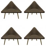 Kit 4 Poltrona Ibiza Triângulo Decoração Sala Clinica Recepção Escritório Quarto Cadeira D'Classe Decor Sued Marrom Rato