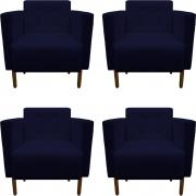 Kit 4 Poltrona Isa Decoração Clinica Recepção Escritório Quarto Cadeira D'Classe Decor Suede Azul Marinho
