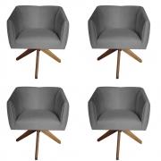 Kit 4 Poltrona Julia Decoração Base Giratória Clinica Cadeira Escritório Recepção Suede Grafite