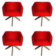 Kit 4 Poltrona Julia Decoração Base Giratória Clinica Cadeira Escritório Recepção Suede Vermelho