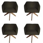Kit 4 Poltrona Julia Decoração Base Giratória Salão Clinica Cadeira Escritório Recepção D'Classe Decor Suede Marrom