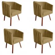 Kit 4 Poltrona Julia Decoração Salão Cadeira Escritório Recepção Sala Estar Amamentação D'Classe Decor Suede Marrom Rato