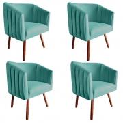 Kit 4 Poltrona Julia Decoração Salão Cadeira Escritório Recepção Sala Estar Amamentação D'Classe Decor Suede Az Tiffany