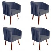 Kit 4 Poltrona Julia Decoração Salão Cadeira Escritório Recepção Sala Estar Amamentação D'Classe Decor Suede Az Marinho
