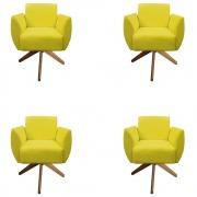 Kit 4 Poltrona Kelly Decoração Base Giratória Decoração Clinica Escritório Recepção Sala D'Classe Decor Suede Amarelo