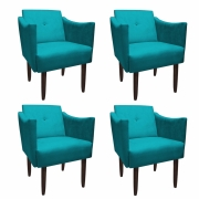 Kit 4 Poltrona Naty Decoração Clínica Salão Cadeira Recepção Escritório Sala Estar  D'Classe Decor Suede Azul Tiffany