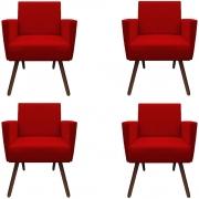 Kit 4 Poltronas Nina Decoração Sala Clinica Recepção Escritório Quarto D'Classe Decor Suede Vermelho
