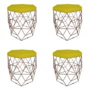 Kit 4 Puff Diamante Aramado Decoração Banqueta Salão Sala Estar Quarto D'Classe Decor Suede Amarelo