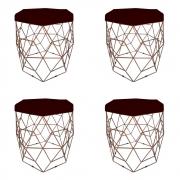 Kit 4 Puff Diamante Aramado Decoração Banqueta Salão Sala Estar Quarto D'Classe Decor Suede Marsala