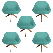 Kit 5 Poltrona Anitta Decoração Base Giratória Recepção Moderna Quarto Salão D'Classe Decor Suede Azul Tiffany
