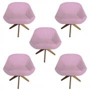Kit 5 Poltrona Anitta Decoração Base Giratória Recepção Moderna Quarto Salão D'Classe Decor Suede Rosa Bebê