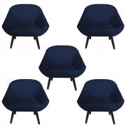 Kit 5 Poltrona Anitta Decoração Recepção Clínica Pé Palito Moderna Quarto Salão D'Classe Decor Suede Azul Marinho