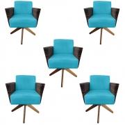Kit 5 Poltrona Chanel Decoração Base Giratória Escritório Estar Recepção Clinica Suede Azul Tiffany