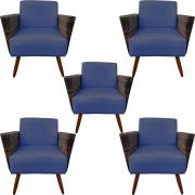 Kit 5 Poltrona Chanel Decoração Pé Palito Cadeira Escritório Clinica Jantar Estar Suede Azul Marinho