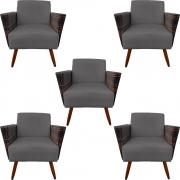 Kit 5 Poltrona Chanel Decoração Pé Palito Cadeira Escritório Clinica Jantar Estar Suede Grafite