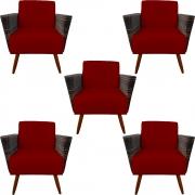 Kit 5 Poltrona Chanel Decoração Pé Palito Cadeira Escritório Clinica Jantar Estar Suede Marsala