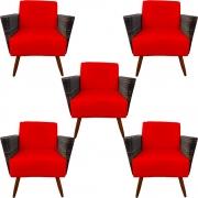 Kit 5 Poltrona Chanel Decoração Pé Palito Cadeira Escritório Clinica Jantar Estar Suede Vermelho