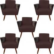 Kit 5 Poltrona Chanel Decoração Pé Palito Cadeira Escritório Clinica Jantar Sala Estar D'Classe Decor Suede Marrom